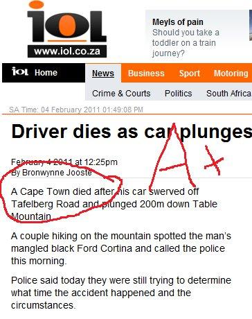 A Cape town dies