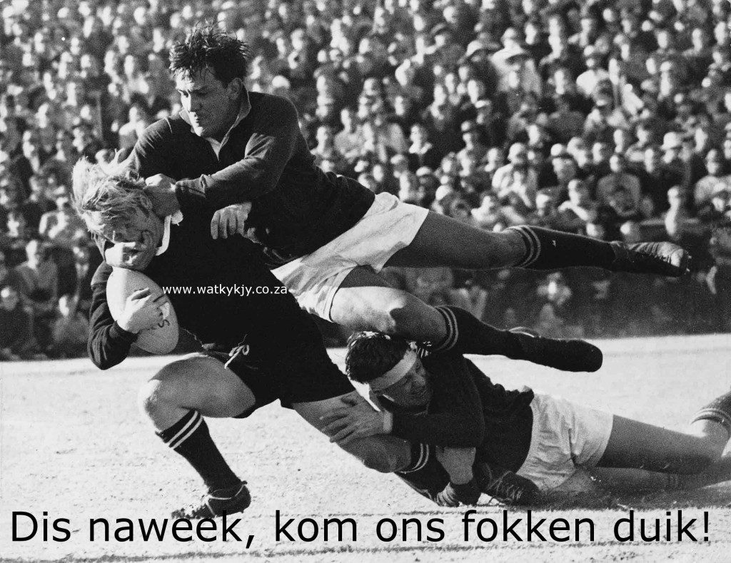 Frik du Preez  Albie Bates 1970 teen All Blacks duik