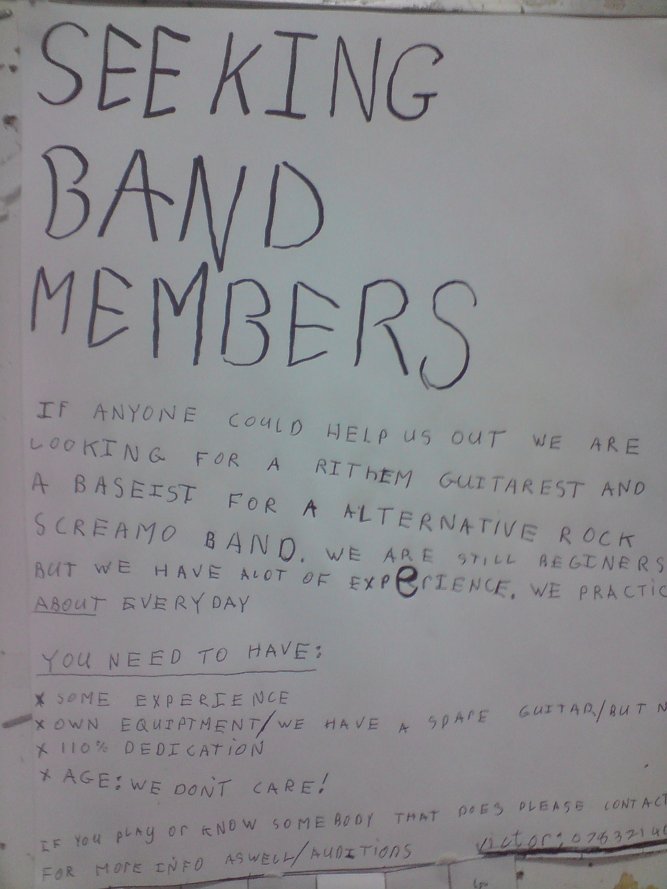 Seeking Band Members - Geplak op Spar se Community Board - Vanderbijlpark