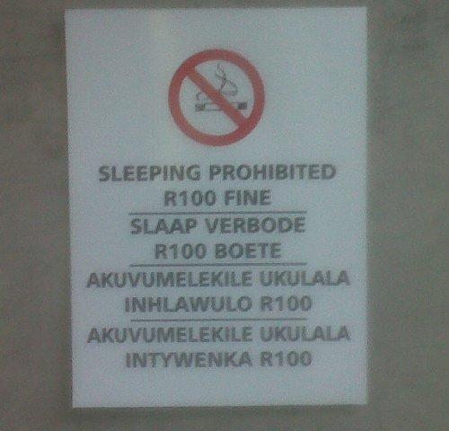 slaap verbode
