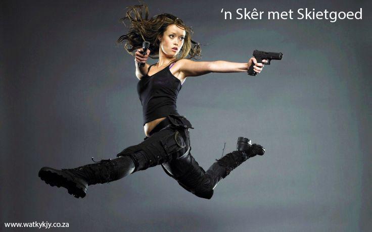 spring en skiet hom