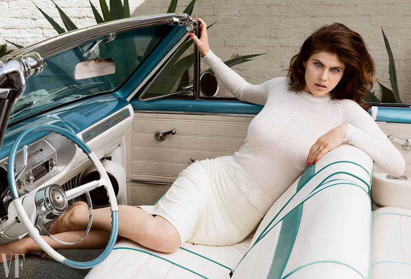 Alexandra Daddario in classic car