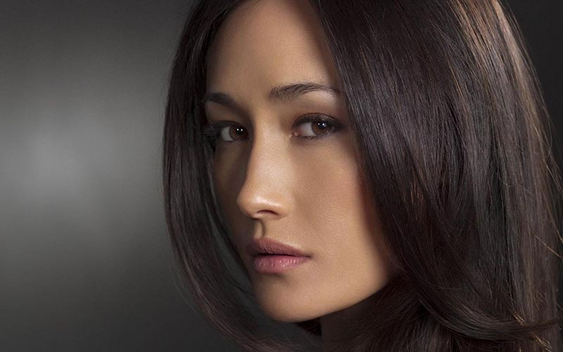 maggie q close up face