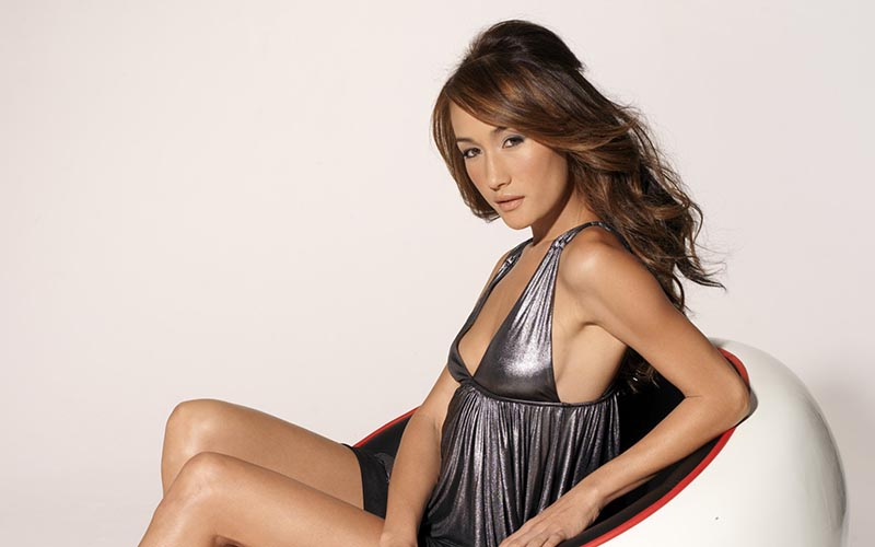 maggie q siver dress side boob